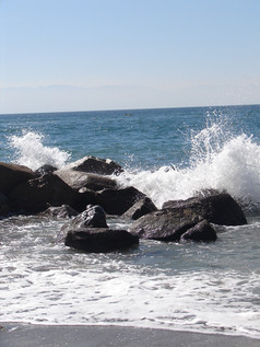 Puerto Vallarta waves hitting rocks