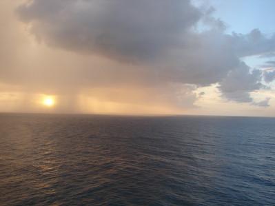 Barbados rainy sunset