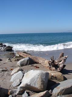 Puerto Vallarta sea, rocks & log