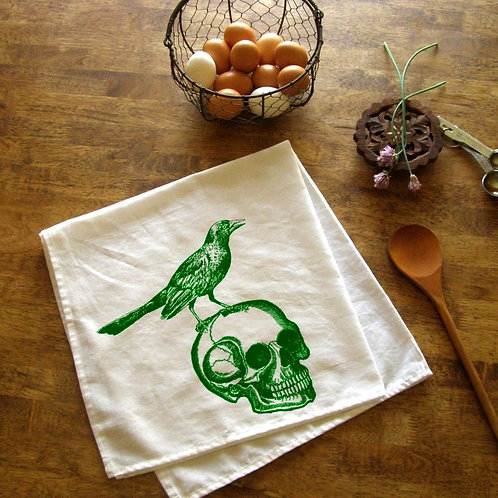 Skull and Raven Kitchen Towel