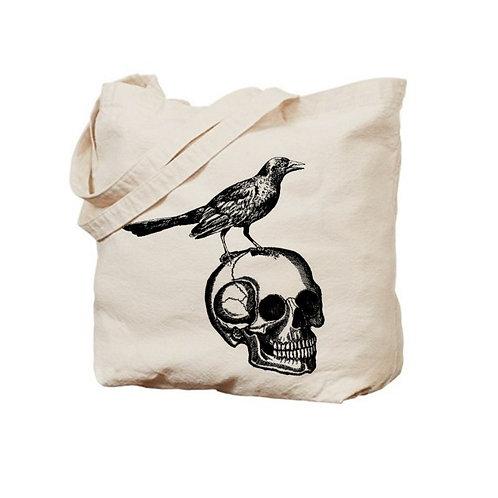 Skull and Raven Tote Bag