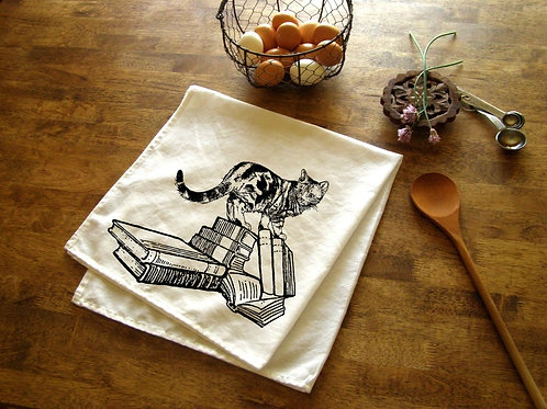Book Store Cat Kitchen Towel