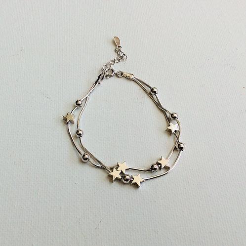 Girls double string star bracelet