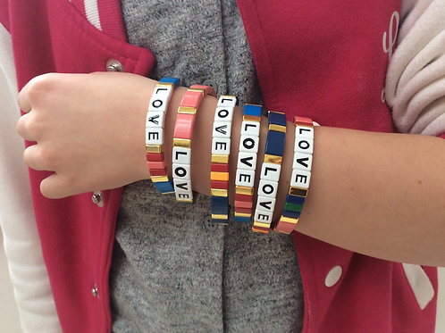 Enamel tile 'Love' bracelets