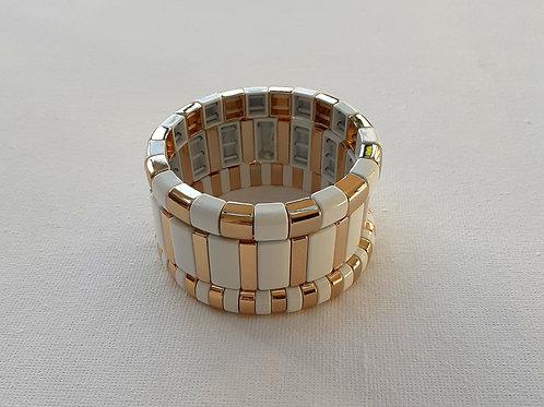 White & gold enamel tile bracelet