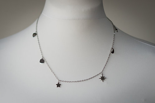 Star, moon, heart necklace