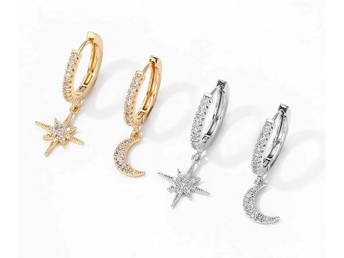 Diamante Star & Moon earrings