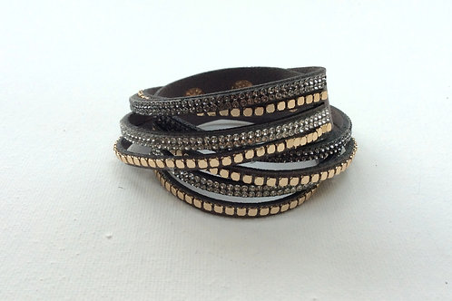 Double wrap metallic strip bracelet