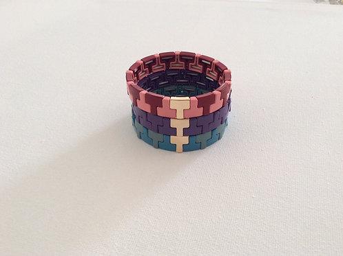 Gold 'T' enamel bracelets