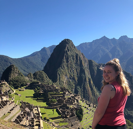 Alexis Lenderman at Macchu Picchu, Peru after studying abroad in Ecuador