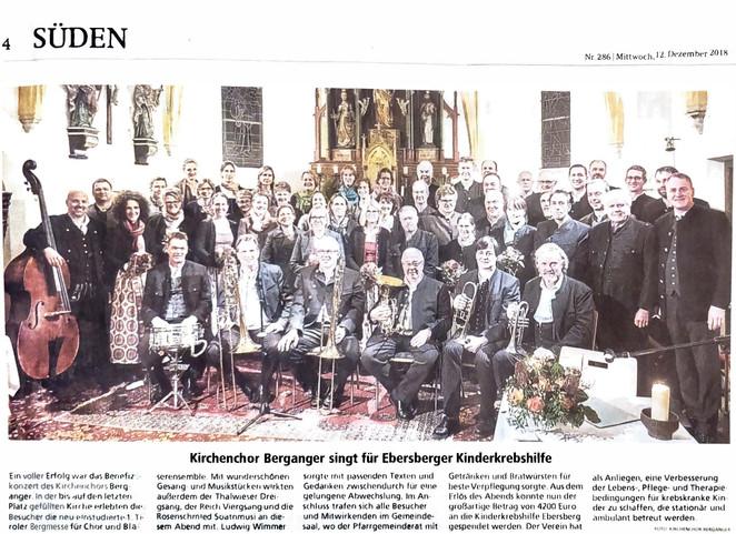 Kirchenchor Berganger singt für die Kinderkrebshilfe Ebersberg