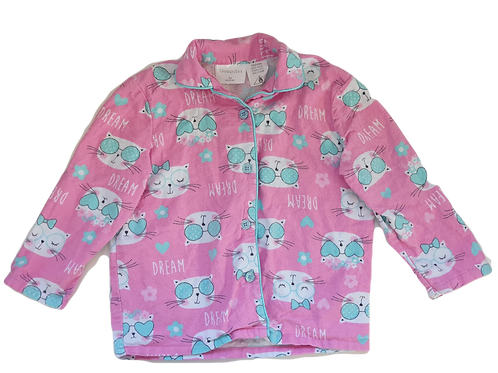 Pink Cat PJ's - Top and Bottoms - Size 4