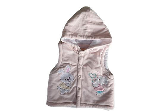 Padded pink vest with bunnies - Size 12 to 18 months