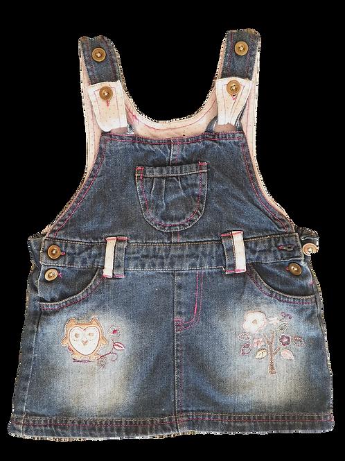 Denim Dress - Owl Print - Size 2 years