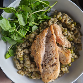 Pan-Fried Chicken with Green Barley