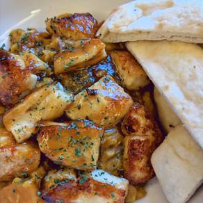 Sweet Potato Dal with Mango Chutney Glazed Halloumi