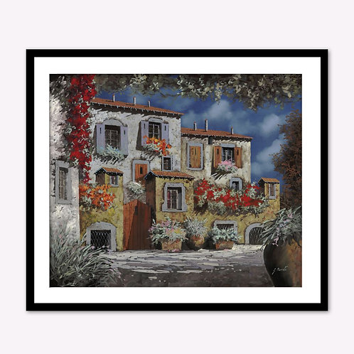 A Stone House in Red Flowers in Balcony