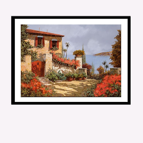Beach Front with Red Flowers in Bloom