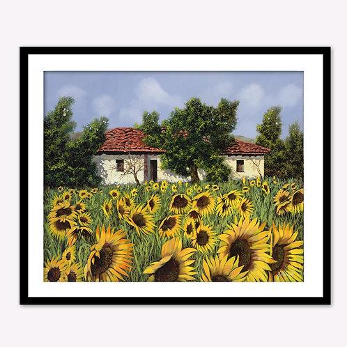 Single Stone House in the Sun Flower Field II