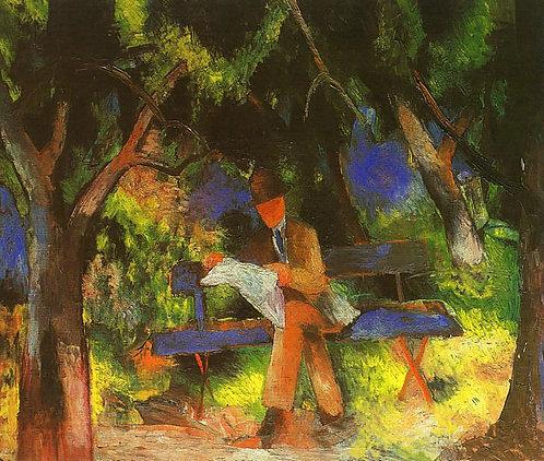 Man Reading in a Park (Lesender Mann im Park)