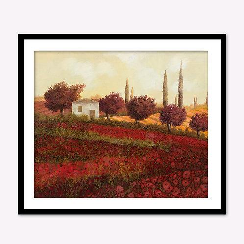Lone Home in Red Flower Field II