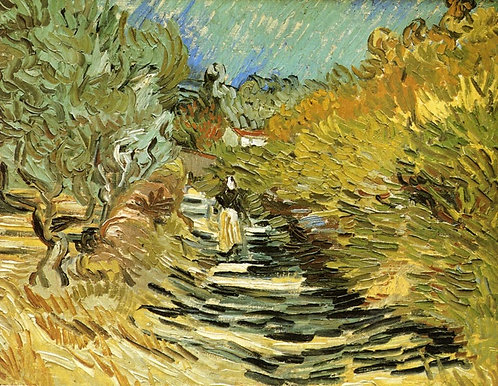 """A road at Saint-Remy with female figures"" by Van Gogh"