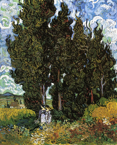 """Cypresses with Two Women"" by Van Gogh"