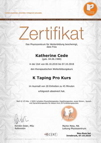 2018 Zertifikat das Physiozentrum für Weiterbildung