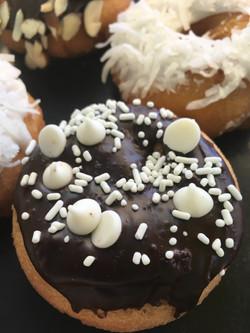 White chocolate chip donut