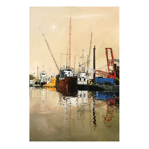 """""""Workboats on the Harvey Canal"""" 20""""x 30"""" on fap"""