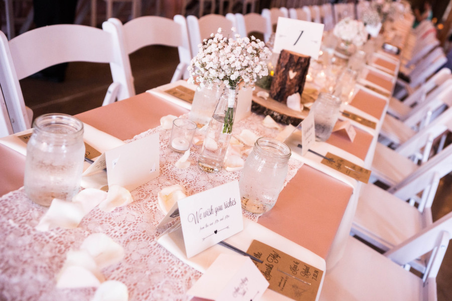 Elegant and rustic wedding table
