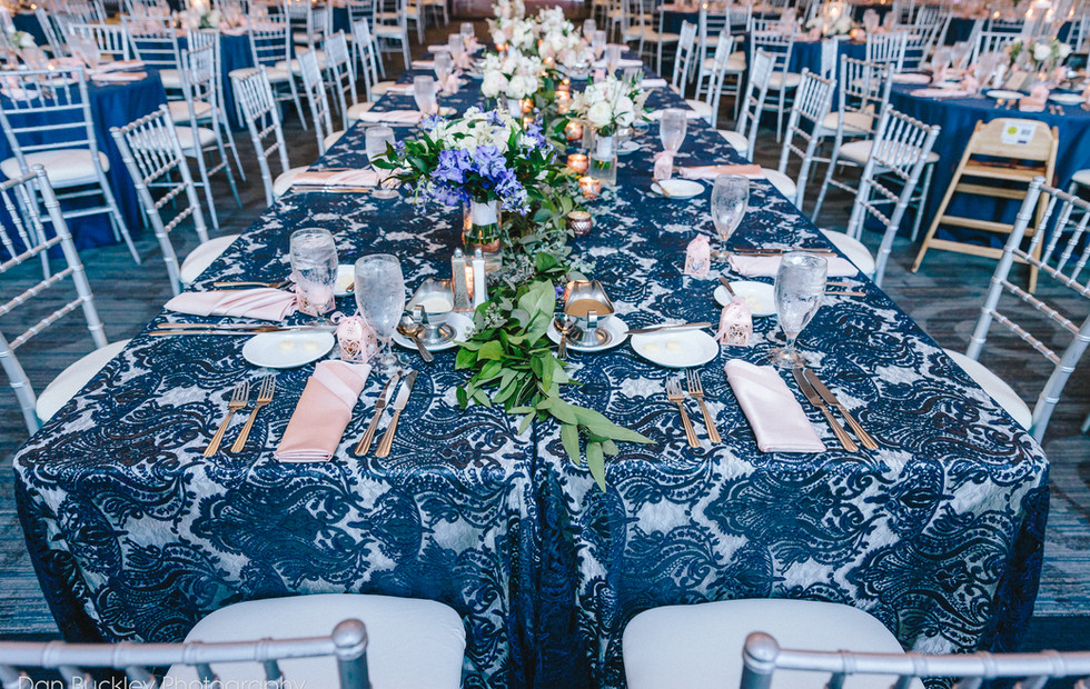 Navy and Blush Headtable
