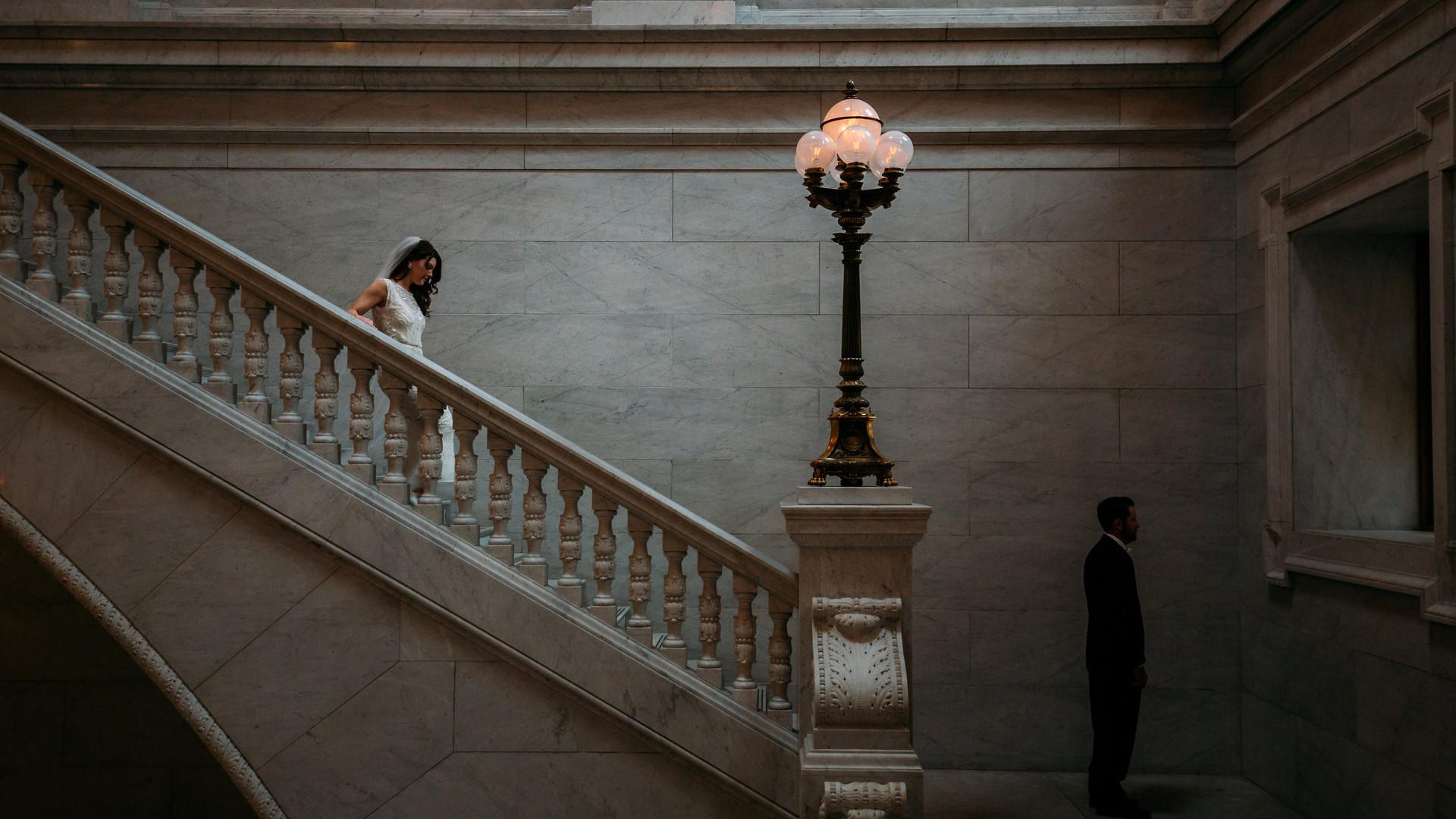 Bride Down Staircase