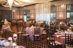 Pink and gold wedding venue