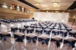 Blue and white wedding ceremony