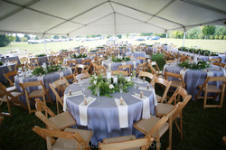 Outdoor wedding under a tent