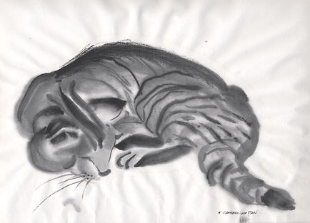 Tiger cat sleeping sumi-e
