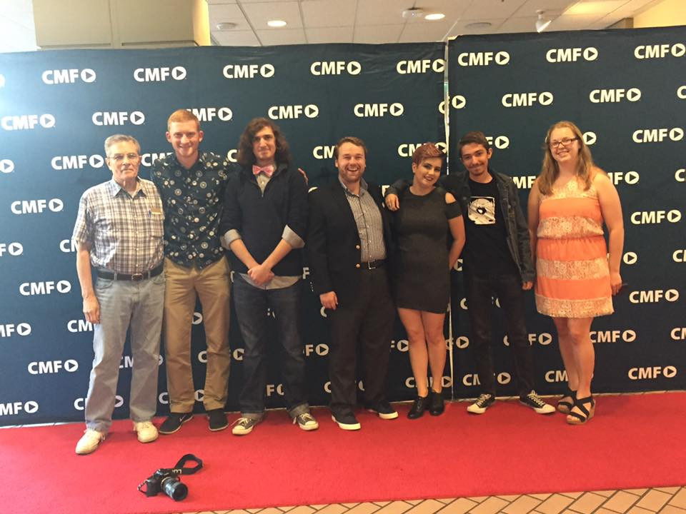 Campus MovieFest Finale, from left to right: John Parcels, David Besh, Connor Rentz, Michael Houston, Kat Delghingaro, Conner J. Kirsch, and Kelsey Allman