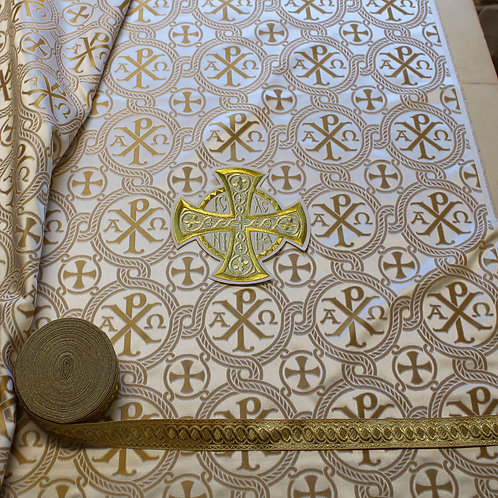 ChiRho white-gold priest vestments