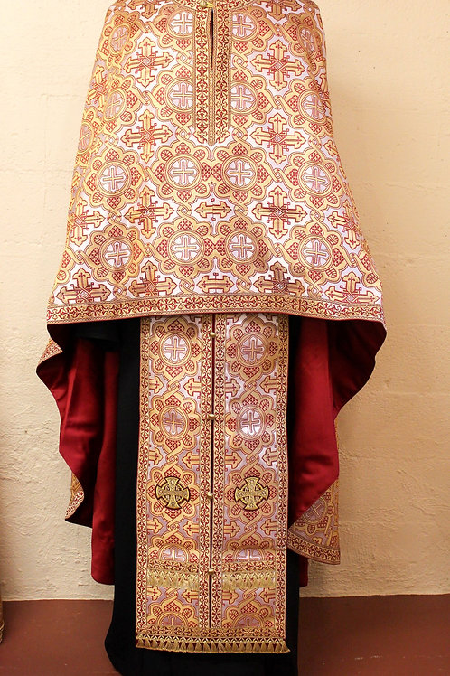 Priest vestments brocade, white-gold-red
