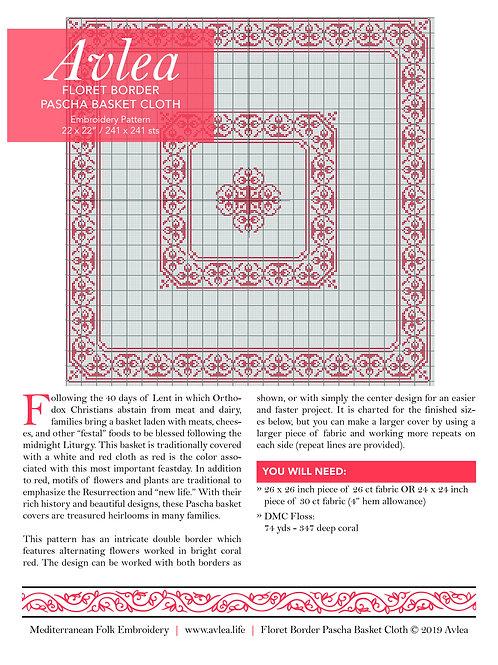 Floret Border Pascha Basket Cover Kit or Pattern