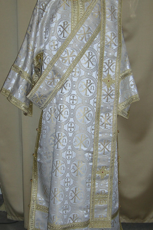 ChiRho white-gold deacon vestments