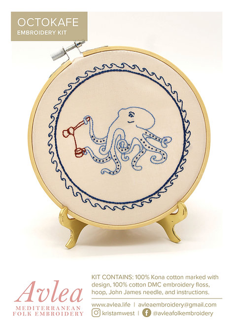 SALE! Seconds of Octokafe hand embroidery kit