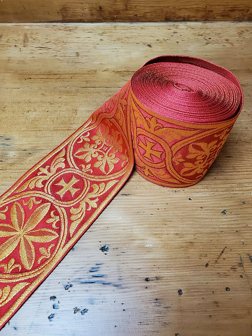3 inch banding, red/gold