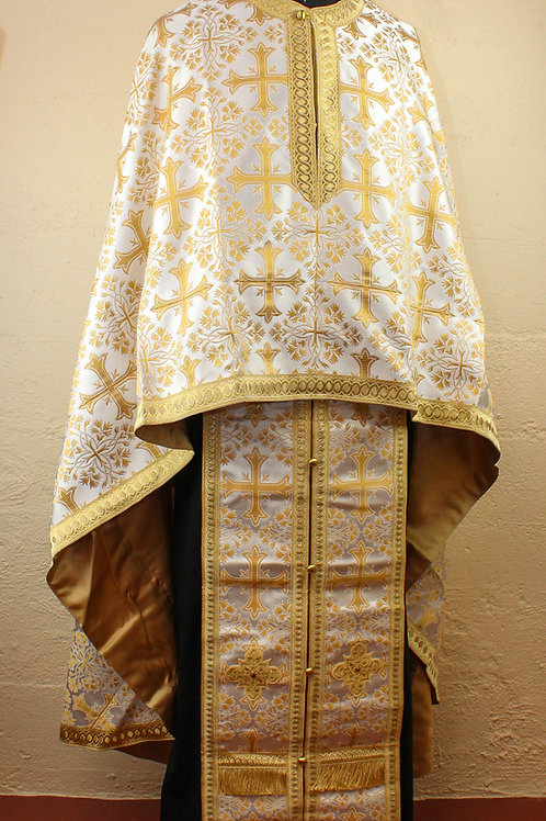 Priest vestments brocade, white-gold