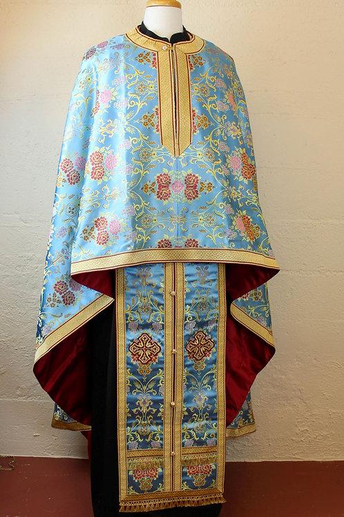 Priest vestments brocade, blue