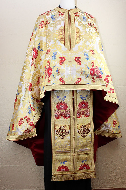 Canterbury white-red-blue priest vestments