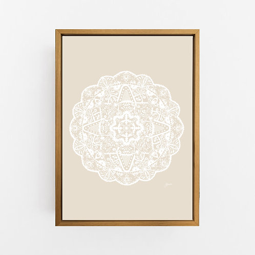Marrakesh Mandala in Solid Ivory Wall Art | CANVAS