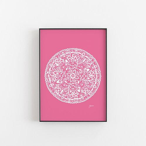 Sahara Mandala Print White & Fuchsia