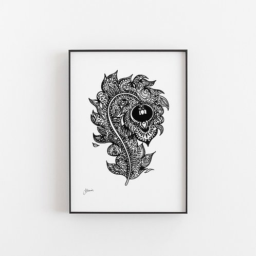Bohemian Peacock Tail Feather Art Print A4 & A3 Size | Digital Download